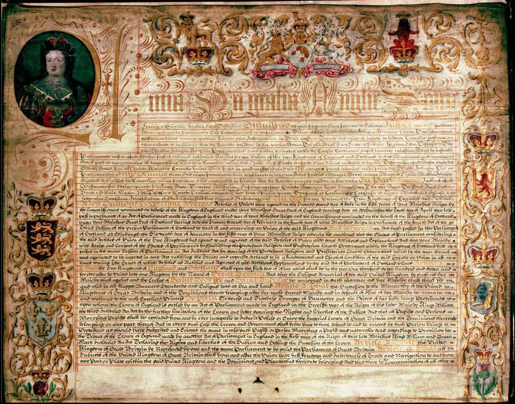 Traité d'Union créant la Grande Bretagne - Exemplaire écossais - 1707