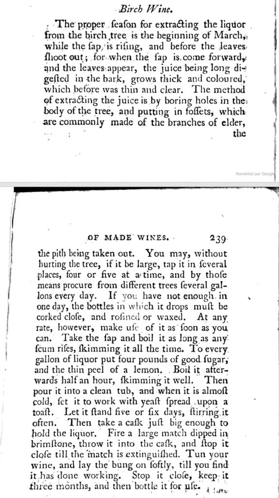 Recette du birch wine ou vin de bouleau par T. Williams - Londres, 1717