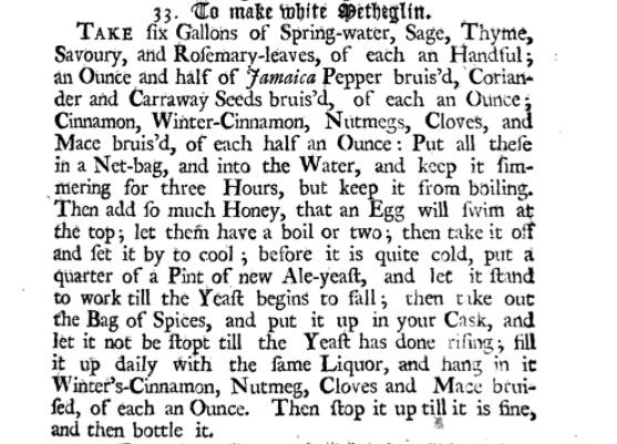 Recette du metheglin - par John Nott - Londres, 1723