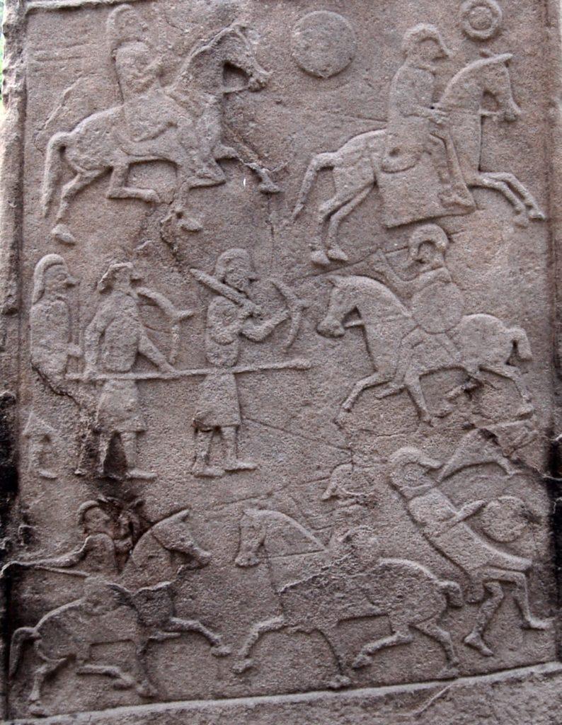Piere picte d'Aberlemno représentant la bataille de Dun nechtain (685). Les pictes à gauche, les hommes Northumbrie à droite