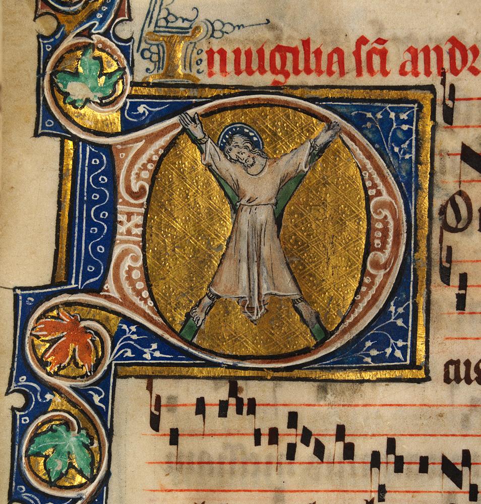 Saint André crucifié extrait du Sherbrooke Missal (Ref. NLW MS. 15536E.) - Auteur inconnu - 1310-1320