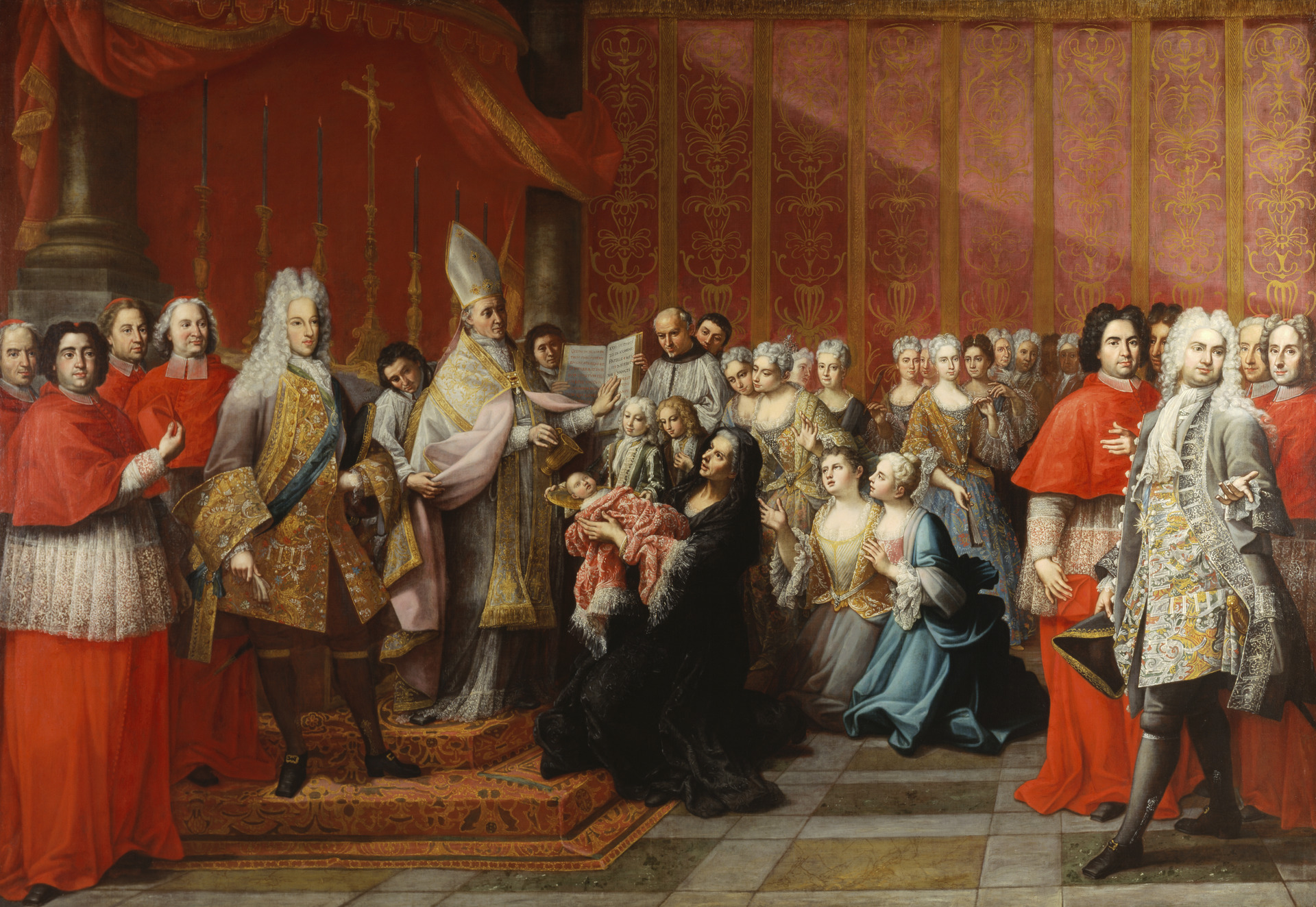 Le baptême du Prince Charles Édouard Stuart, par Antonio David, 1725 (ref. PG 2511 à la Scottish National Portrait Gallery)