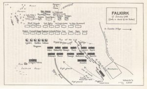Excellent plan de la bataille de Falkirk fait par Katherine Tomasson en 1958