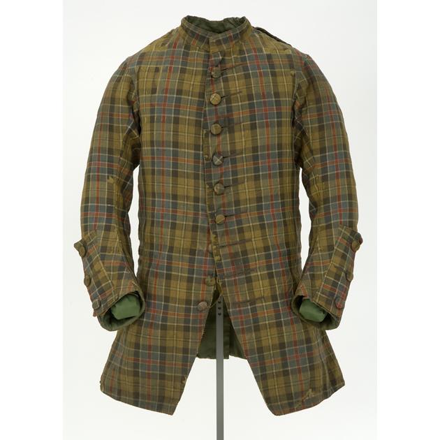 Veste en laine à motif de tartan. Première moitié du XVIIIe siècle, probablement portée à Culloden (ref E.1990.59.1)