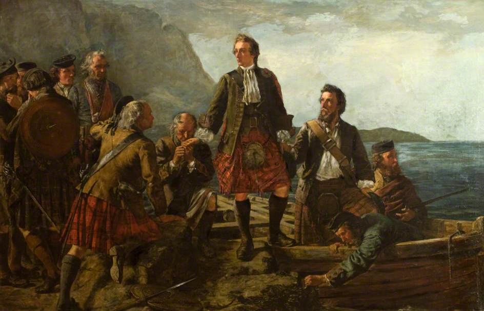 MacDonald, John Blake; 'Lochaber No More', Prince Charlie Leaving Scotland; Dundee Art Galleries and Museums Collection (Dundee City Council); http://www.artuk.org/artworks/lochaber-no-more-prince-charlie-leaving-scotland-92629