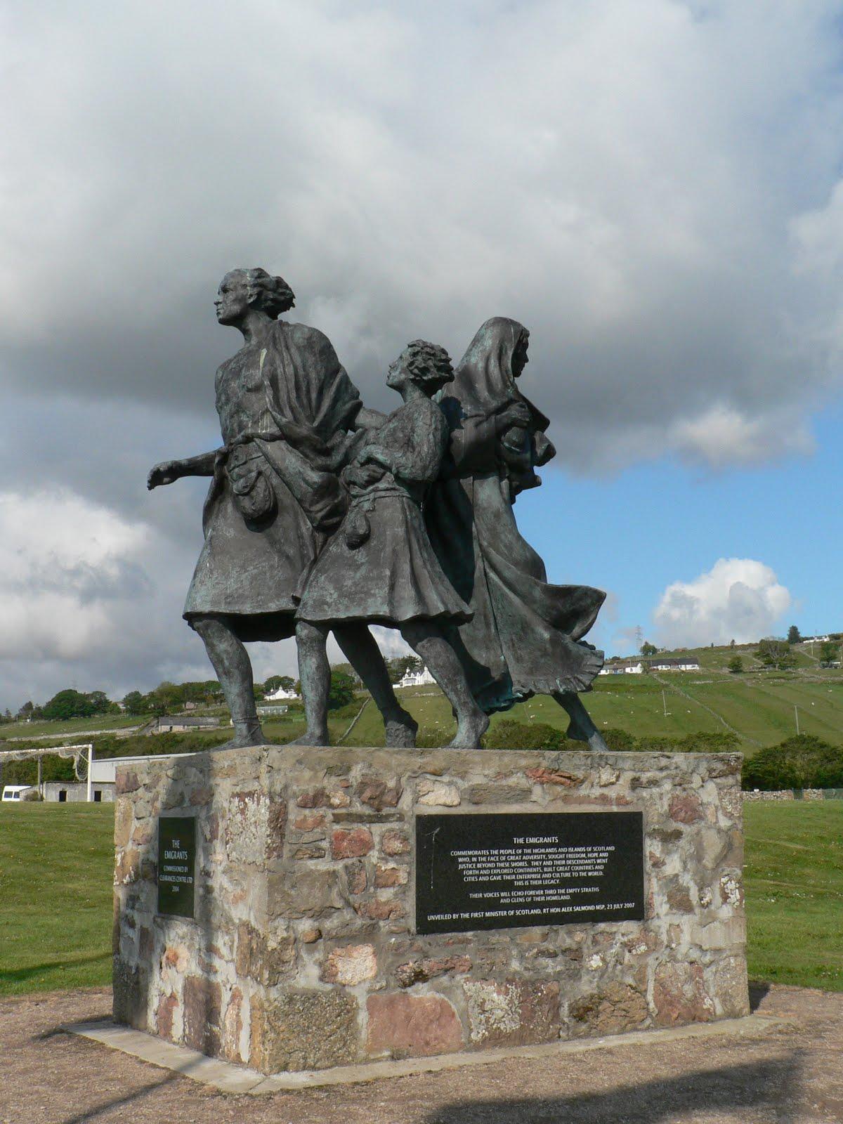 """""""Exiles"""", Helmsdale (Sutherland - Ecosse), statue en commémoration des émigrants victimes des Highland clearances"""