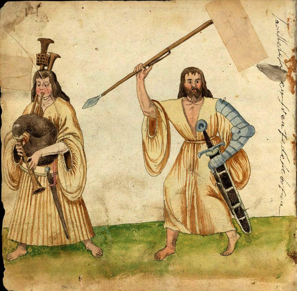 Galloglass, 1547. (Source: Codice de Trajes, Bibliothèque Nationale d'Espagne)