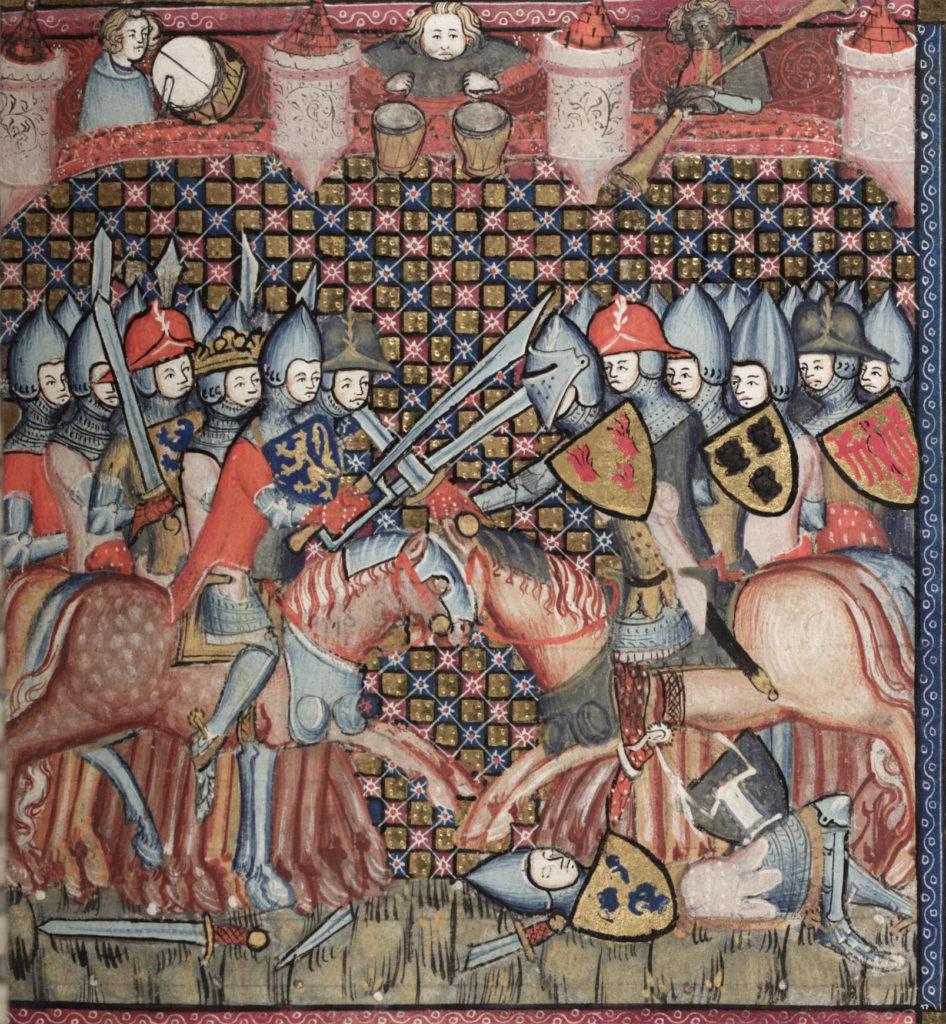 détail d'une miniature-1338-1344 (source : Bodley 264 Romance of Alexander)