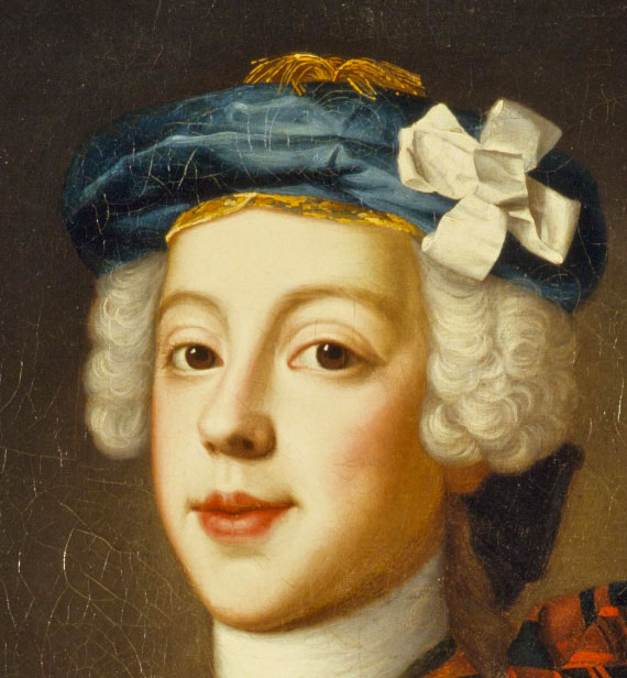 Le Prince Charles Edward Stuart par William Mosman, détail, vers 1750, Ref. PG 1510 National Galleries of Scotland