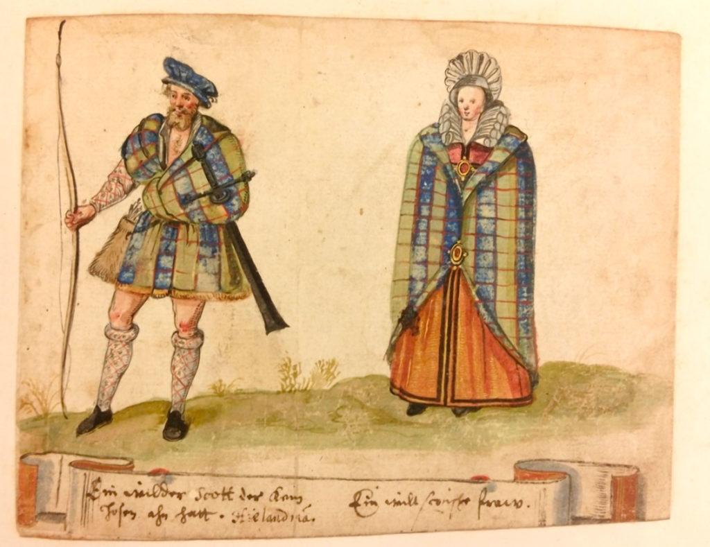"""""""A Highlander"""" par Hieronymus Tielsch, entre 1606 et 1616, Huntington Library, HM 25863, f. 28r - C'est l'une des iconographies les plus anciennes représentant un belted plaid."""