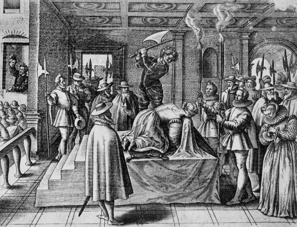 Execution de Marie Stuart- gravure par Richard Verstegen, 1588 - coll. BNF-Paris
