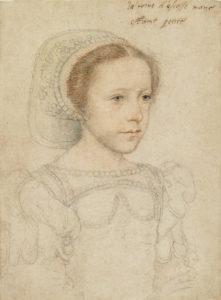 dessin de Marie Stuart par François Clouet - vers 1549, juste après l'arrivée de Marie à la cour de France