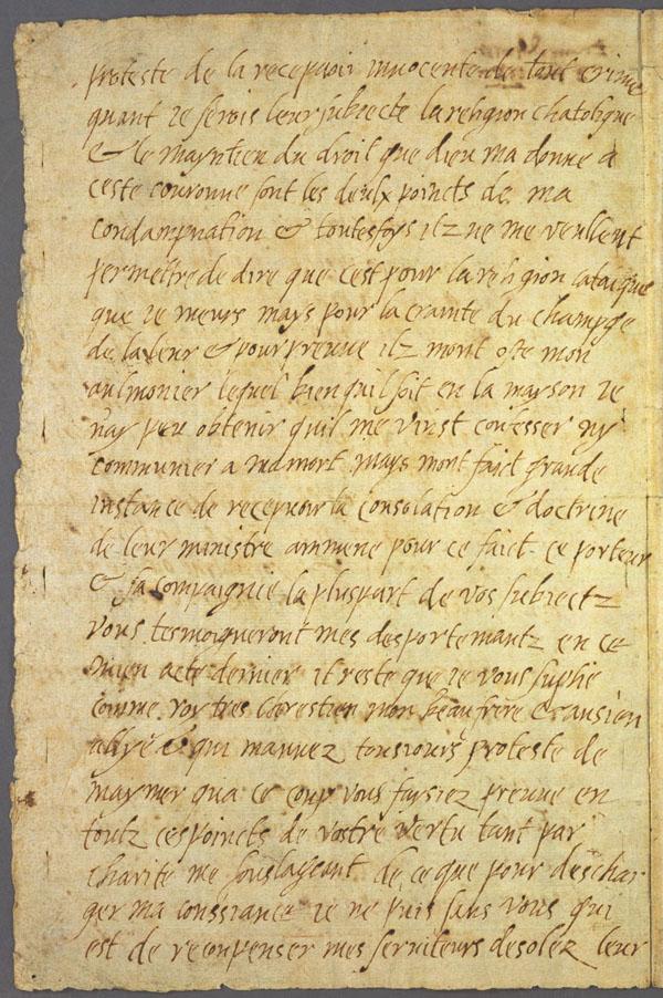 La dernière lettre de Marie Stuart à son beau frère, Henri III, roi de France - 1587 - page 2