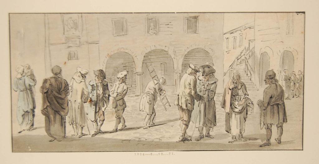Scène de rue à Edimbourg, notez un highlander à droite en belted plaid - 1747-1751 - par Paul Sandby - British Museum - ref.1904,0819.71