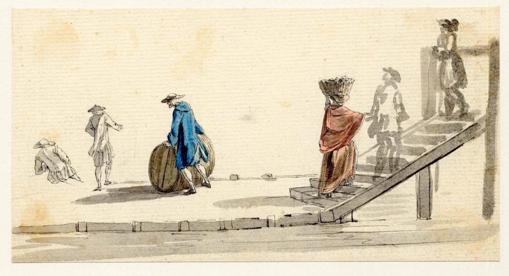 Scène de rue à Edimbourg - 1747-1751 - par Paul Sandby - British Museum - ref.Nn,6.1