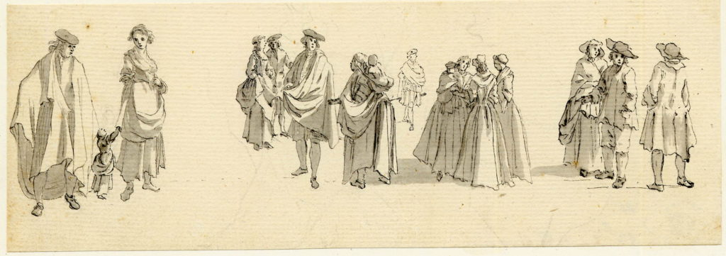 Scènes de rue à Edimbourg, notez les highlanders en belted plaid - 1747-1751 - par Paul Sandby - British Museum - ref.Nn,6.10
