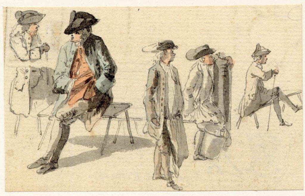 Scène de rue à Edimbourg - 1747-1751 - par Paul Sandby - British Museum - ref.Nn,6.12