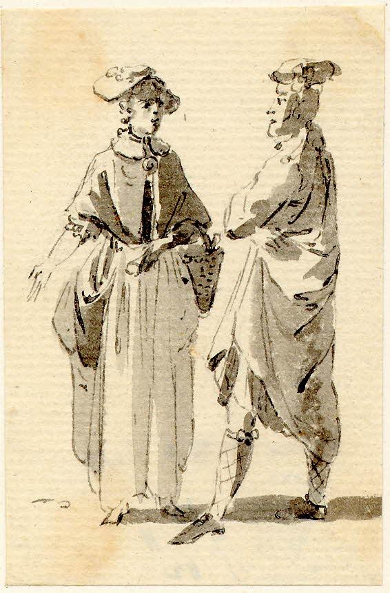 Un highlander parlant à une femme à Edimbourg - 1747-1751 - par Paul Sandby - British Museum - ref.Nn,6.14