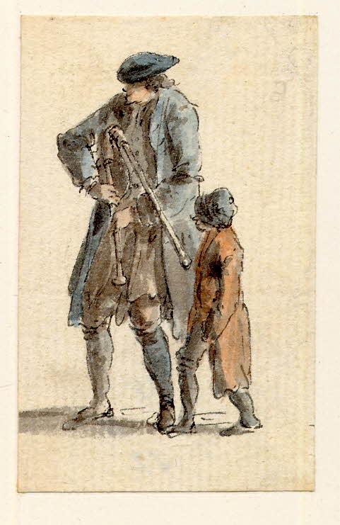 Un sonneur de cornemuse et un jeune garçon à Edimbourg - 1747-1751 - par Paul Sandby - British Museum - ref.Nn,6.16