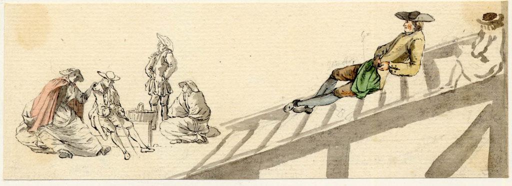 Scène de vie à Edimbourg - 1747-1751 - par Paul Sandby - British Museum - ref.Nn,6.18