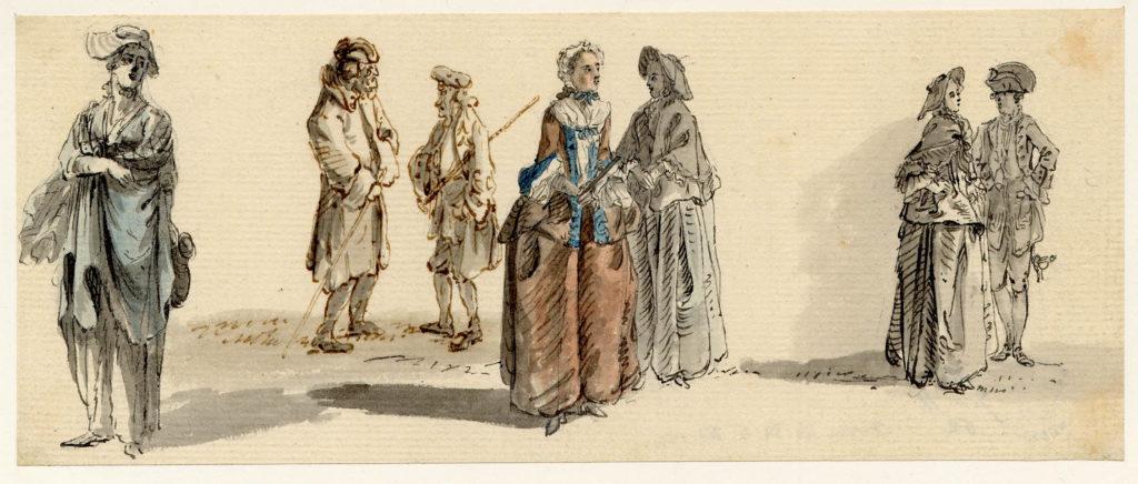 Scène de vie à Edimbourg, notez le highlander en belted plaid en arrière plan - 1747-1751 - par Paul Sandby - British Museum - ref.Nn,6.19