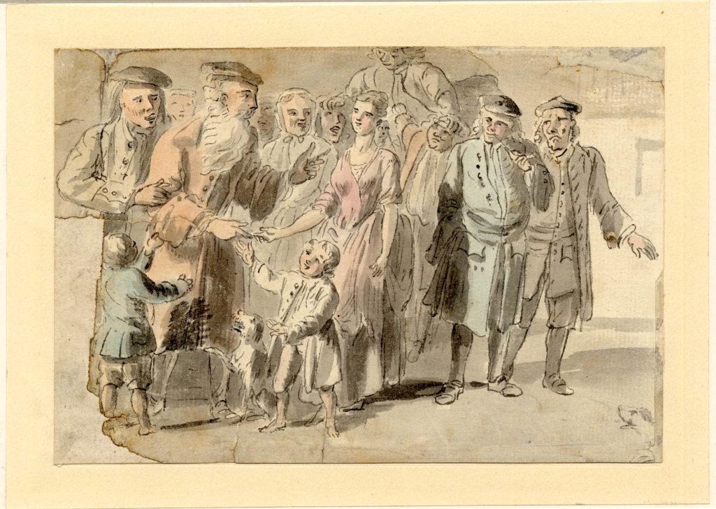 Scène de vie à Edimbourg, notez le vieil homme en rouge au milieu, il porte une barbe, ce qui est rare au XVIIIe siècle - 1747-1751 - par Paul Sandby - British Museum - ref.Nn,6.21