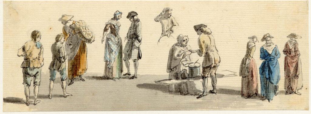Scène de rue à Edimbourg - 1747-1751 - par Paul Sandby - British Museum - ref.Nn,6.24