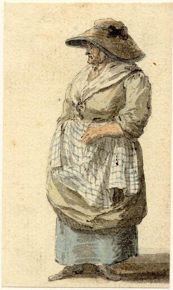 Une femme au marché d'Edimbourg - 1747-1751 - par Paul Sandby - British Museum - ref.Nn,6.25