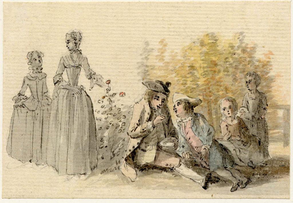 Une famille souffle des bulles de savon à Edimbourg - 1747-1751 - par Paul Sandby - British Museum - ref.Nn,6.26