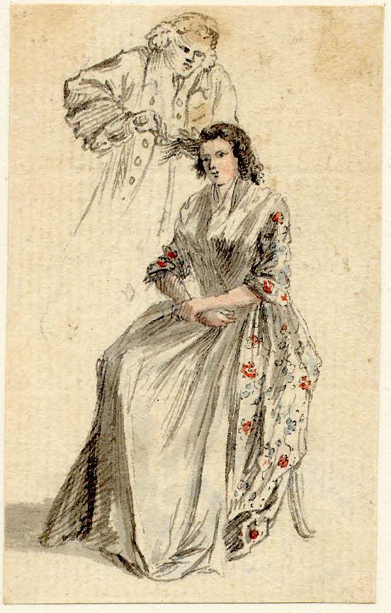Un coiffeur coupe les cheveux d'une lady à Edimbourg - 1747-1751 - par Paul Sandby - British Museum - ref.Nn,6.28