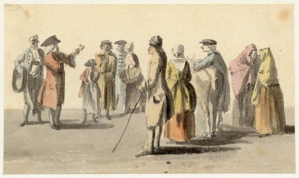 Un homme lit une déclaration en public à Edimbourg - 1747-1751 - par Paul Sandby - British Museum - ref.Nn,6.3