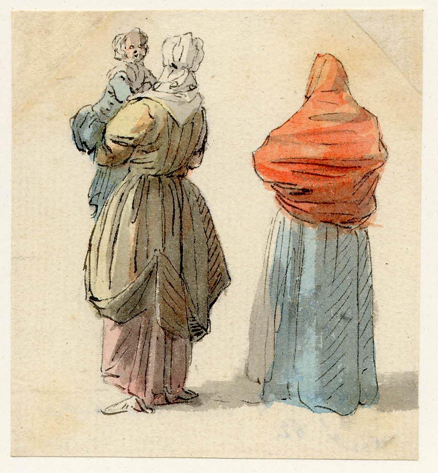 Deux femmes dont une porte un enfant, scène de rue à Edimbourg - 1747-1751 - par Paul Sandby - British Museum - ref.Nn,6.31