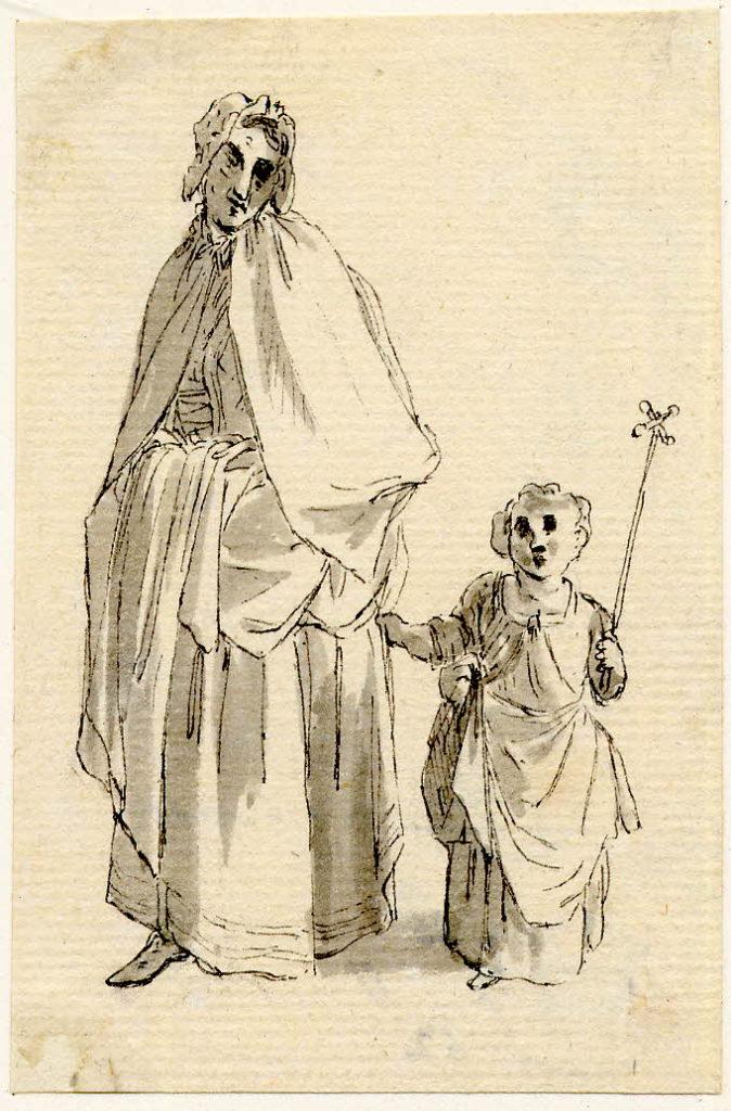 Une femme et un enfant, scène de rue à Edimbourg - 1747-1751 - par Paul Sandby - British Museum - ref.Nn,6.32
