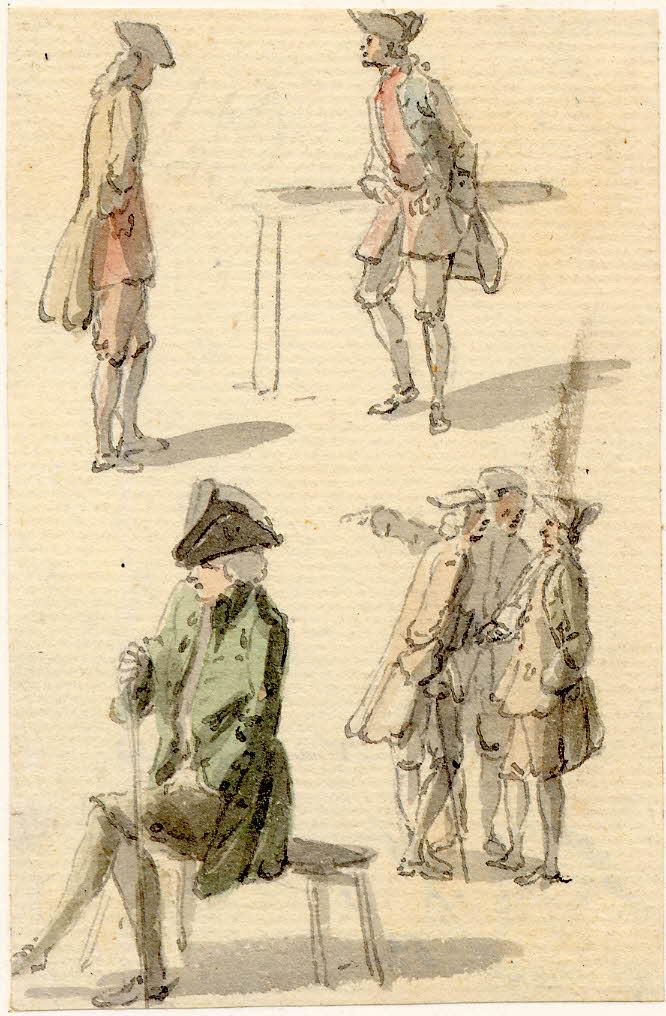 Plusieurs hommes en conversation, scènes de rue à Edimbourg - 1747-1751 - par Paul Sandby - British Museum - ref.Nn,6.33