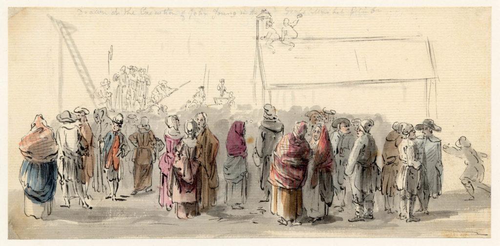 L'éxécution de John Young, scène de rue à Edimbourg, notez la présence de feme portant des arisaids en tartan au premier plan - 1747-1751 - par Paul Sandby - British Museum - ref.Nn,6.34