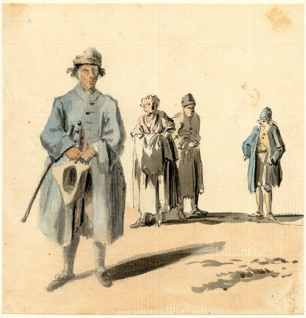 Un aveugle dans la rue, à Edimbourg - 1747-1751 - par Paul Sandby - British Museum - ref.Nn,6.35