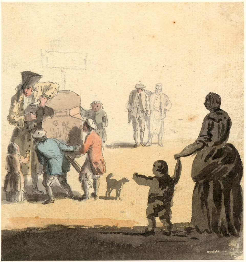 Scène de rue, à Edimbourg - 1747-1751 - par Paul Sandby - British Museum - ref.Nn,6.36
