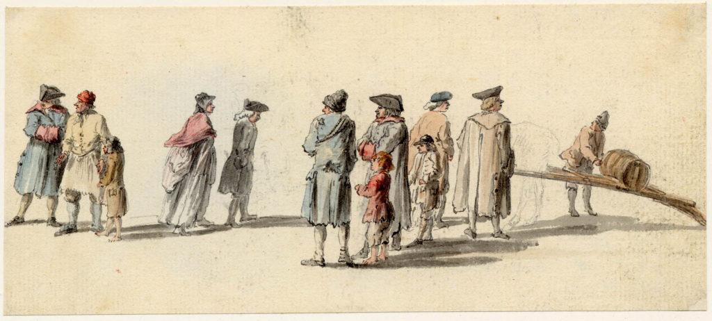 Scène de rue, à Edimbourg - 1747-1751 - par Paul Sandby - British Museum - ref.Nn,6.37