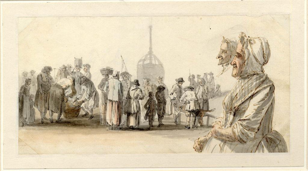 Marché à la viande, à Edimbourg, deux bouchers débitent une carcasse, entourés de gens de la rue - 1747-1751 - par Paul Sandby - British Museum - ref.Nn,6.38