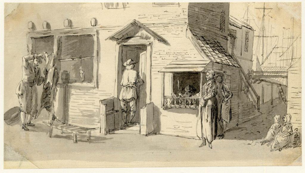 Une boucherie et un homme rentrant chez un cordonnier, derrière se trouve le port d'Edimbourg - 1747-1751 - par Paul Sandby - British Museum - ref.Nn,6.39