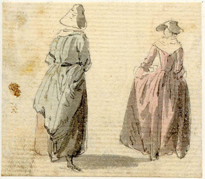Deux femmes à Edimbourg - 1747-1751 - par Paul Sandby - British Museum - ref.Nn,6.4