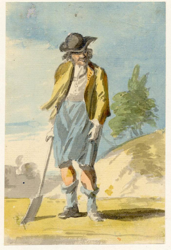 Homme avec une pelle à Edimbourg, l'homme porte possiblement un petit kilt en laine unie - 1747-1751 - par Paul Sandby - British Museum - ref.Nn,6.41