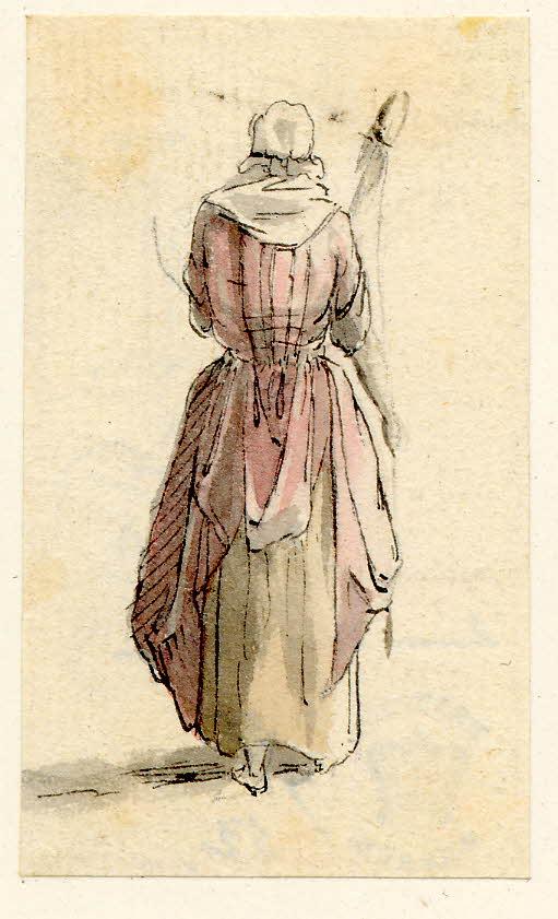 Femme de dos avec une quenouille, scène de rue à Edimbourg - 1747-1751 - par Paul Sandby - British Museum - ref.Nn,6.44