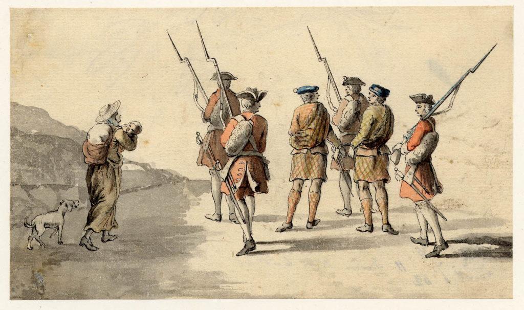 Des prisonniers jacobites encadrés par des soldats, il est probable qu'ils portent des philabegs avec un plaid supplémentaire - 1747-1751 - par Paul Sandby - British Museum - ref.Nn,6.45