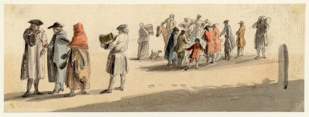Scène de vie à Edimbourg, notez le Arisaid en tartan que porte la femme à gauche de l'image ainsi que les deux officiers loyalistes à droite - 1747-1751 - par Paul Sandby - British Museum - ref.Nn,6.47