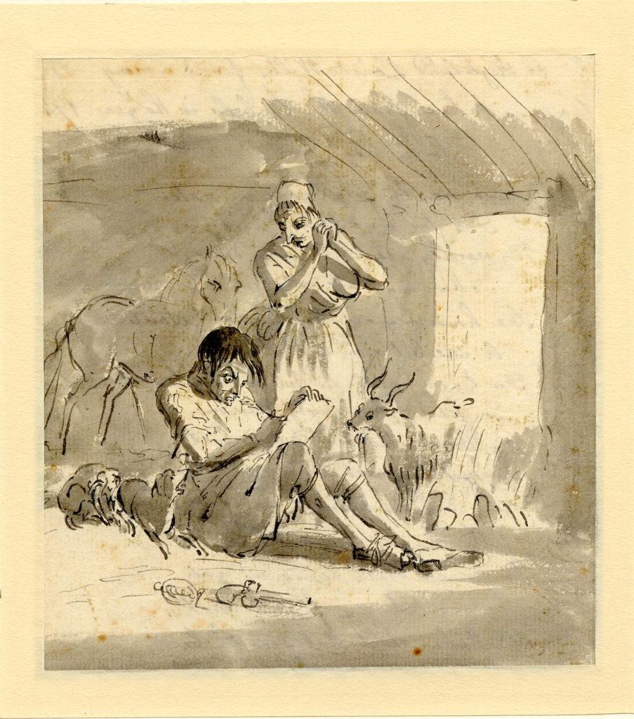 Chef de clan highlander écrivant son testament, il se trouve dans une étable, notez les armes en premier plan - 1747-1751 - par Paul Sandby - British Museum - ref.Nn,6.48