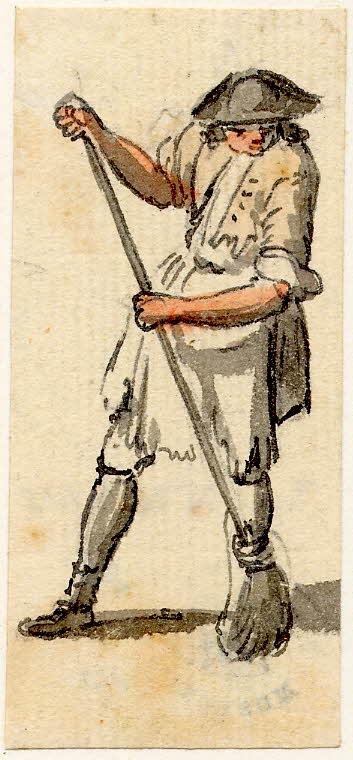 Un homme passant le balai à Edimbourg - 1747-1751 - par Paul Sandby - British Museum - ref.Nn,6.5