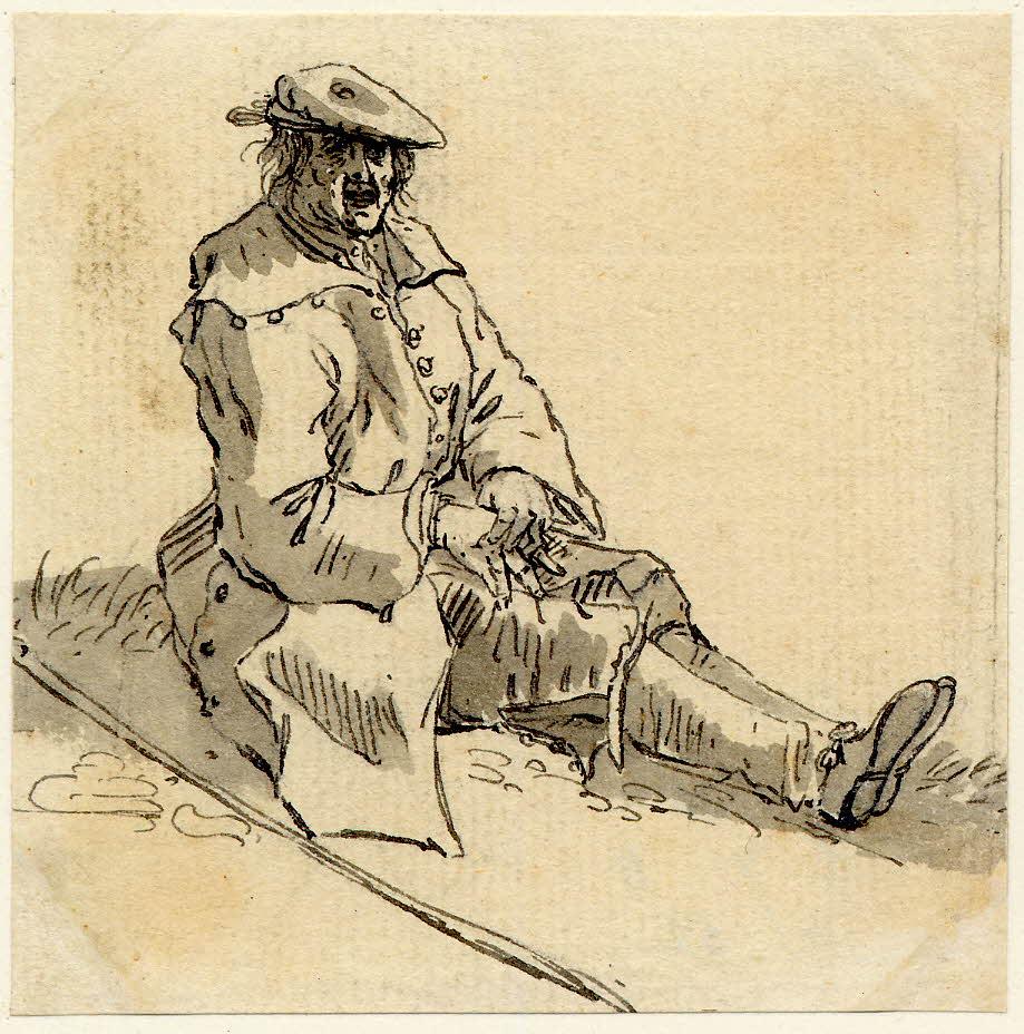 Un mendiant d'Edimbourg - 1747-1751 - par Paul Sandby - British Museum - ref.Nn,6.54
