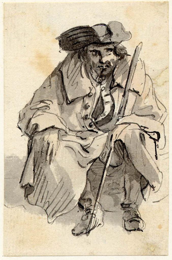 Un mendiant à Edimbourg - 1747-1751 - par Paul Sandby - British Museum - ref.Nn,6.56