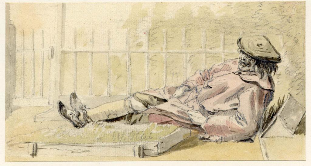 Un homme à Edimbourg - 1747-1751 - par Paul Sandby - British Museum - ref.Nn,6.57